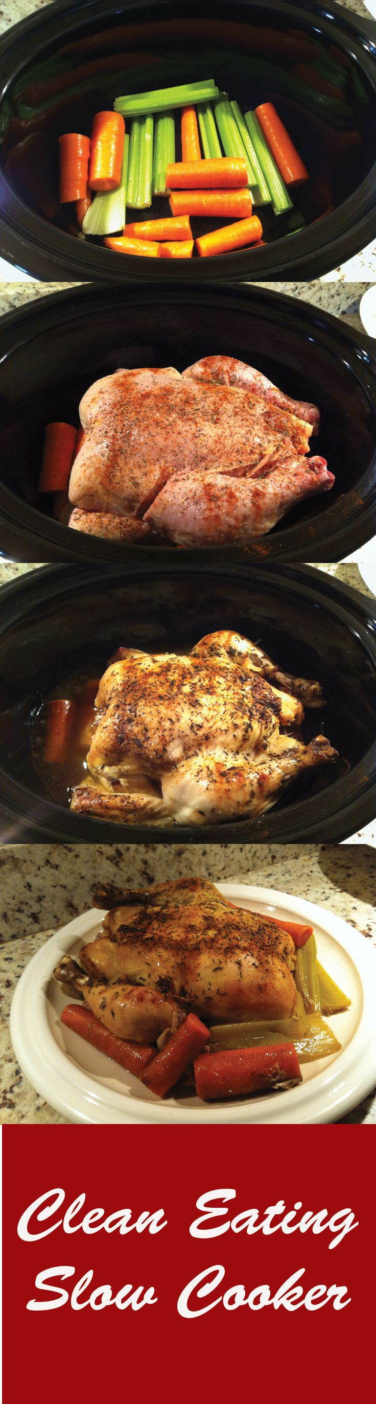 Clean eating recipe in the slow cooker. Moist chicken that is easy and healthy. I will definitely be cooking this ASAP!