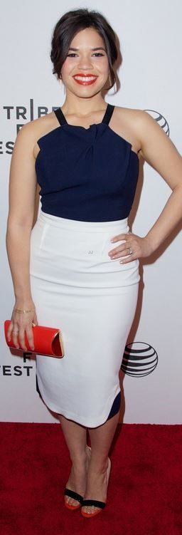 Who made  America Ferrera's white dress, black sandals, clutch handbag, and jewelry that she wore in New York on April 19, 2014?