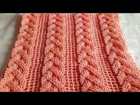 Como tejer un pañuelo en punto de mar en dos agujas - YouTube