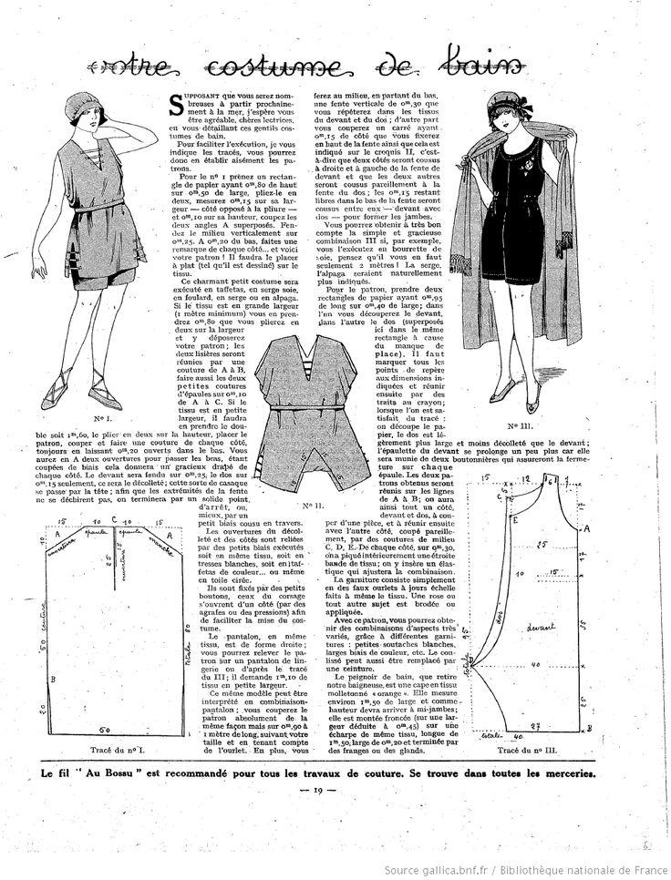 La Femme de France 1921/06/26: 1920 S Patterns, 1920 S Fashion, Historical Patterns, Vintage Patterns, 1920S Costumes, 1920 Patterns, 1920 Bath Suits Patterns, Sewing Patterns, 1920S Patterns Sewing