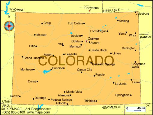 Map of Colorado was the 38th state to join the union. It became a ...