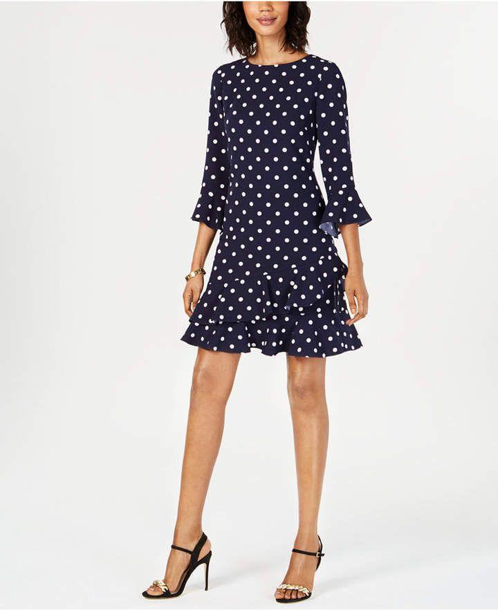 Jessica Howard Petite Printed Bell Sleeve Ruffled Dress