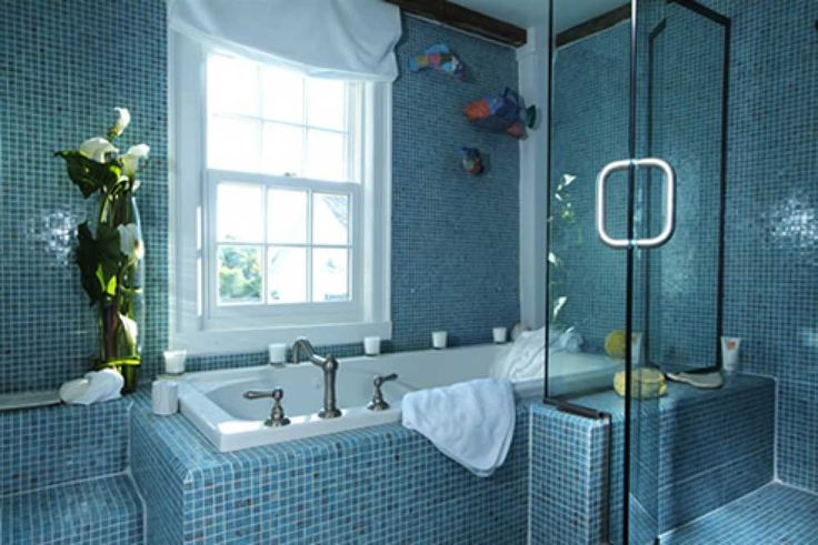 Bathroom Blue Wall Tile Designs Ideas with beautiful built in bathtub and cloistered shower