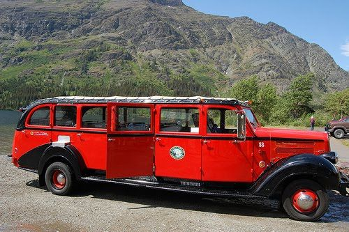 This is how one tours Logan Pass in Glacier National Park....Red Jammers have been the vehicle of choice for touring since the 1930's. There are 32 of them...each 25 feet long and holding 17 passengers. Fun ride!