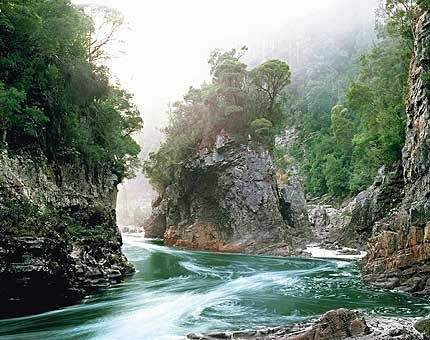 ...into the Tasmanian Wilderness.  Rock Island Bend, Franklin River, Tasmania by Peter Dombrovkis.