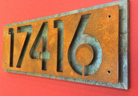 Custom steel and natural slate house numbers by Rancidmetals, $70.00