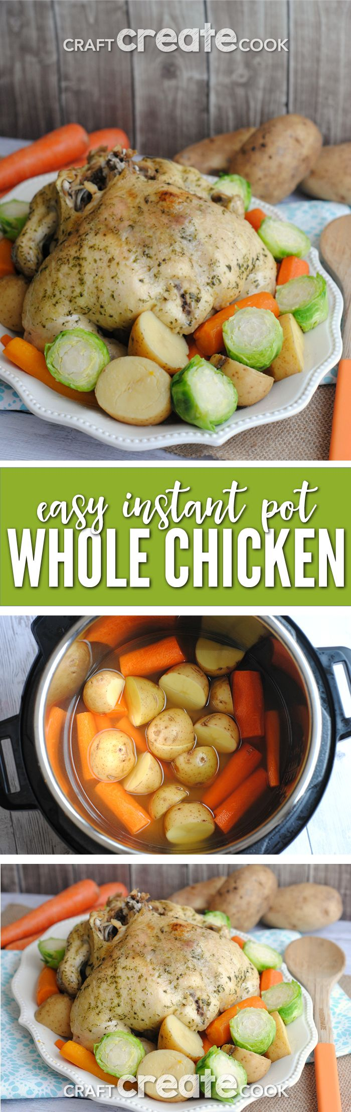 Whole Instant Pot Chicken is a great dinner recipe for busy families! via @CraftCreatCook1