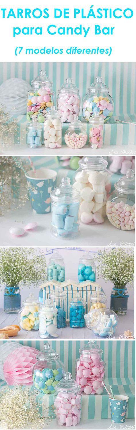 Tarros para candy bar de plástico #candybar #tarros #candy #bar Tarros irrompibles ligeros y parecen de cristal