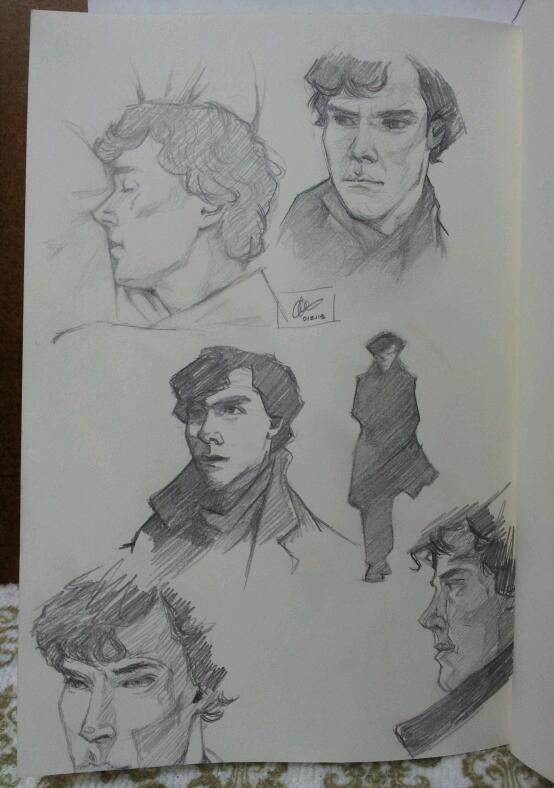 BBC Sherlock sketch dump (aka. Benedict's face is impossible)