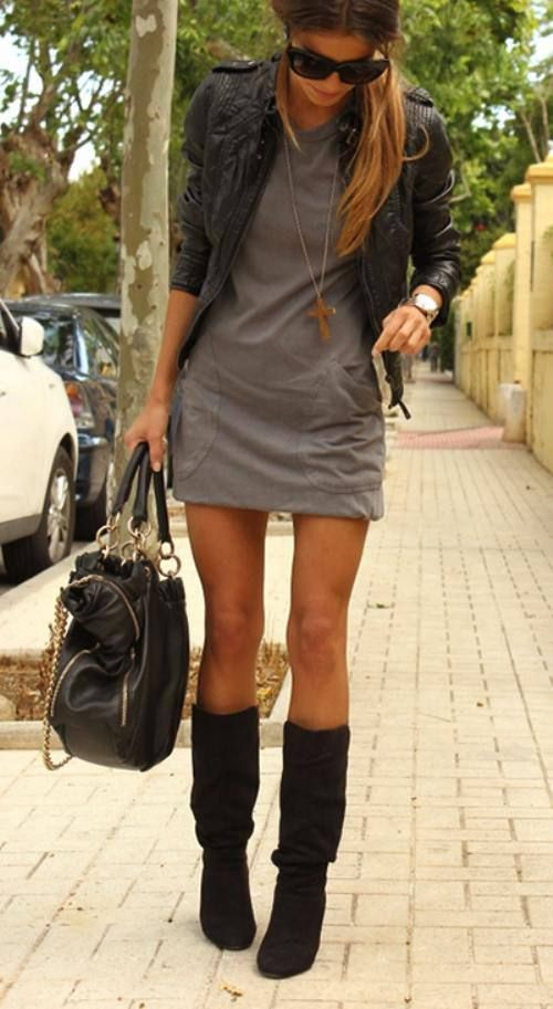 black leather jacket + dress + black boots + watch