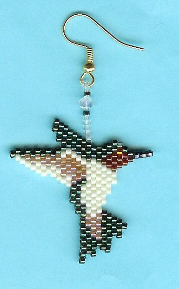 Hand Beaded Hummingbird Dangling earring  number 1 by beadfairy1, $10.00