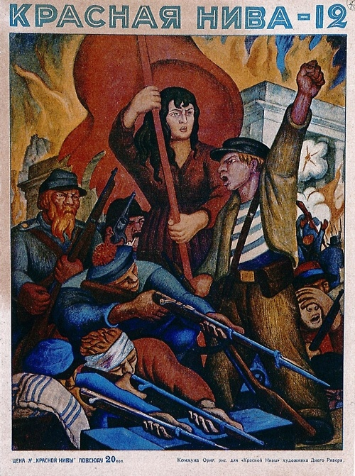 Soviet magazine cover by Mexican revolutionary artist Diego Rivera.