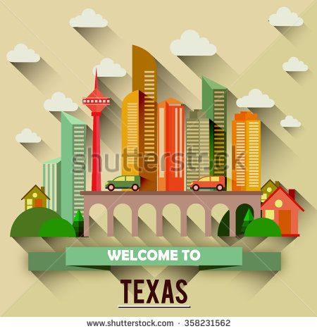 Texas - Flat design city vector illustration - stock vector