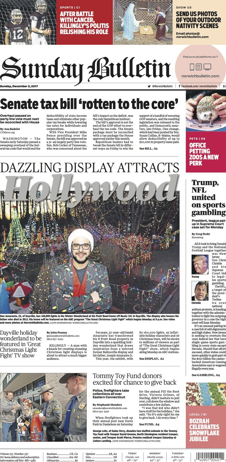 Sunday, December 3, 2017 - Subscribe to The Bulletin today: http://www.norwichbulletin.com #ctnews #newlondoncounty #windhamcounty