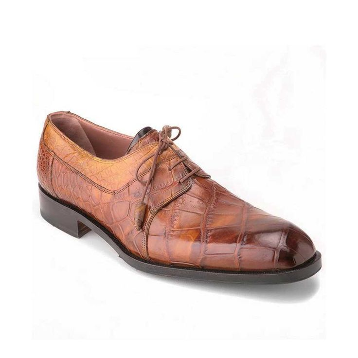 Mauri Bagutta Body Alligator Hand-Painted Brown Men's Derby Shoes