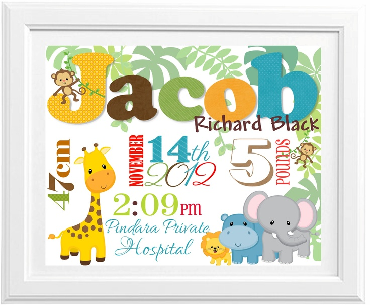Birth Print Jungle theme