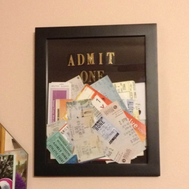 pre decorating of my ticket stub frame