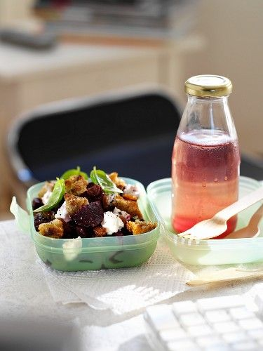 Roasted Beet and Goat Cheese Salad with Multigrain Croutons