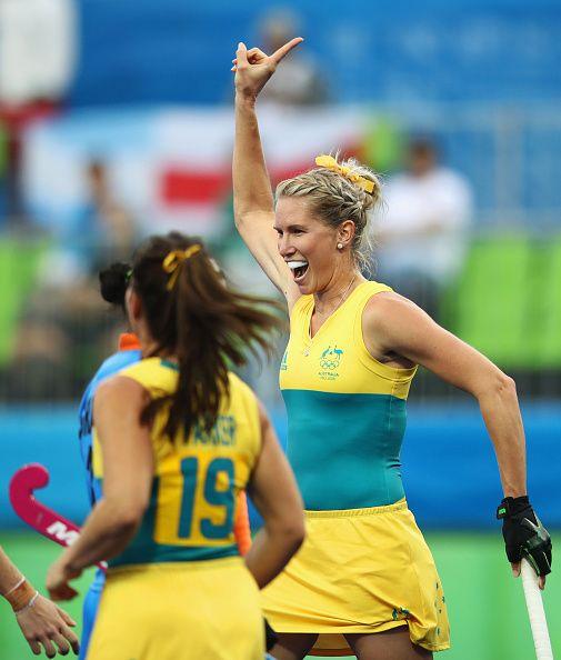 #RIO2016 Jodie Kenny of Australia celebrates a goal during the Women's Pool B…