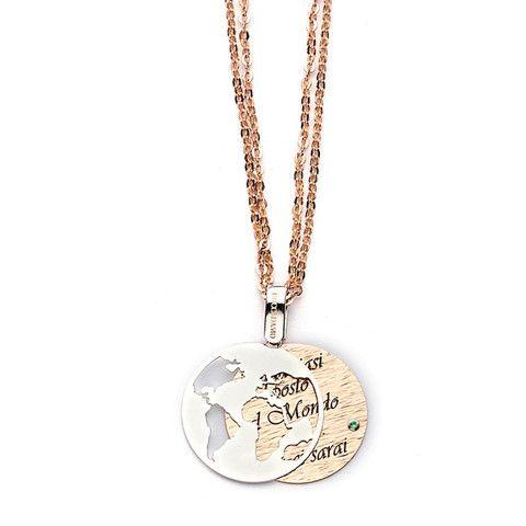 """Collana in bronzo con messaggio inciso: """"In qualsiasi posto al mondo sarò…tu ci sarai"""" (€ 59.00)"""