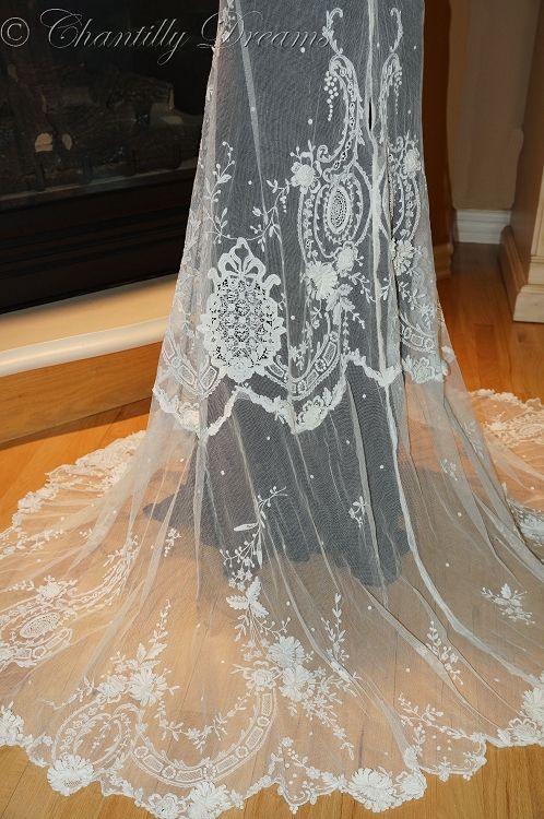 Antique Lace Irish Tambour handmade Victorian lace skirt, circa 1880-1910.