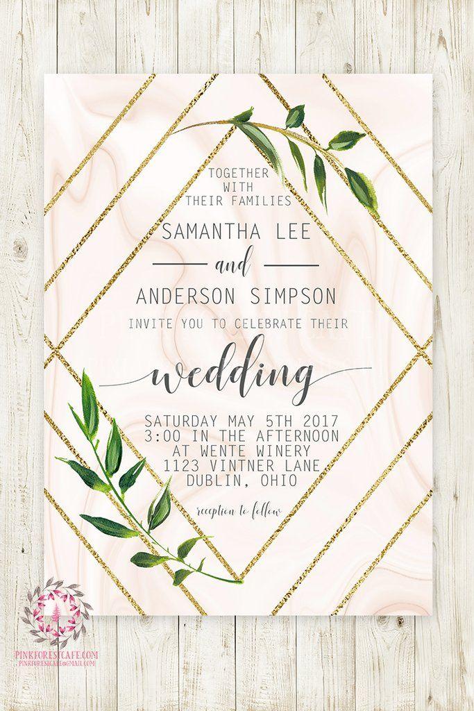 88e9200edf4e Geometric Marble Greenery Wedding Invite Invitation Bridal Baby Shower Gold  Watercolor Save The Date Printable