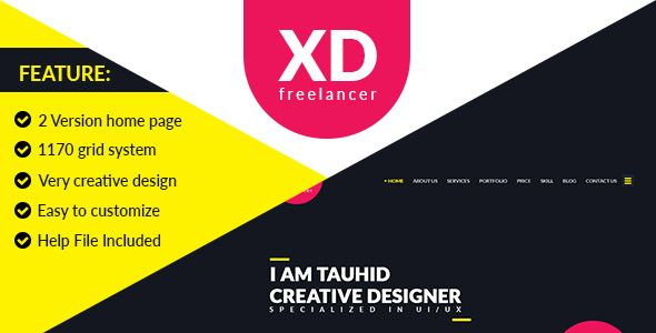 XD Freelancer- Personal/Agency Portfolio One Page PSD Template - PSD Templates Download here : https://themeforest.net/item/xd-freelancer-personalagency-portfolio-one-page-psd-template/19713972?s_rank=3&ref=Al-fatih