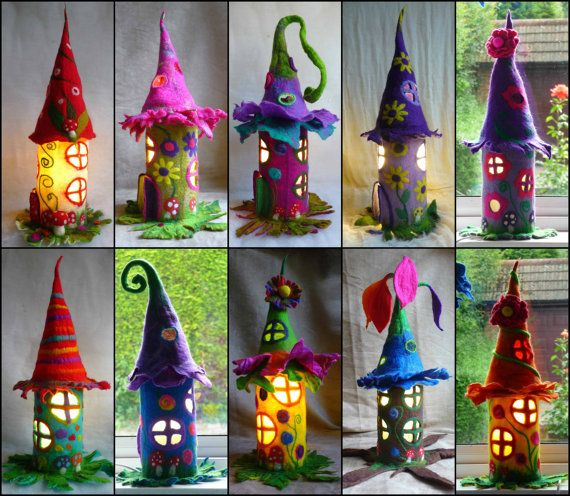 felted fairy lamp, bedside lamp, night light, handmade, wool, felt, fairy light, Waldorf inspired