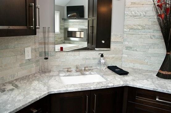 White Stone Backsplash Kitchen backsplash: island stone parellels cladding himarchal white
