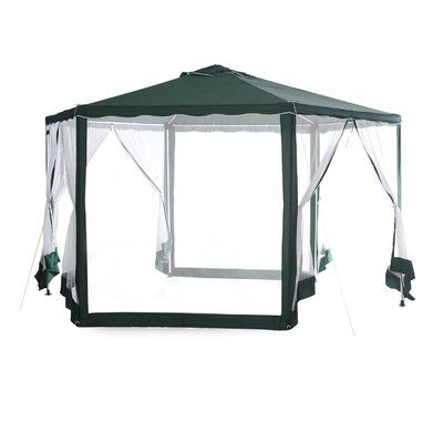 Abba Patio Outdoor Hexagon 11 Ft. W x 13 Ft. D Steel Portable Gazebo with Mosquito Net