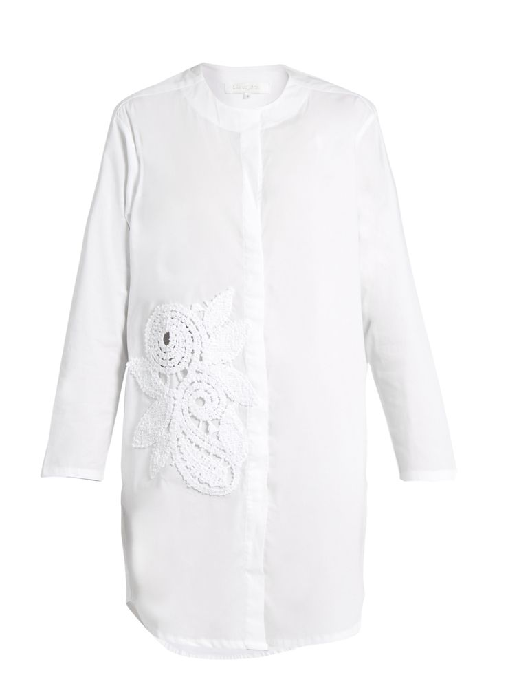 1751 floral-appliqué cotton-blend shirt | Lila Eugenie | MATCHESFASHION.COM