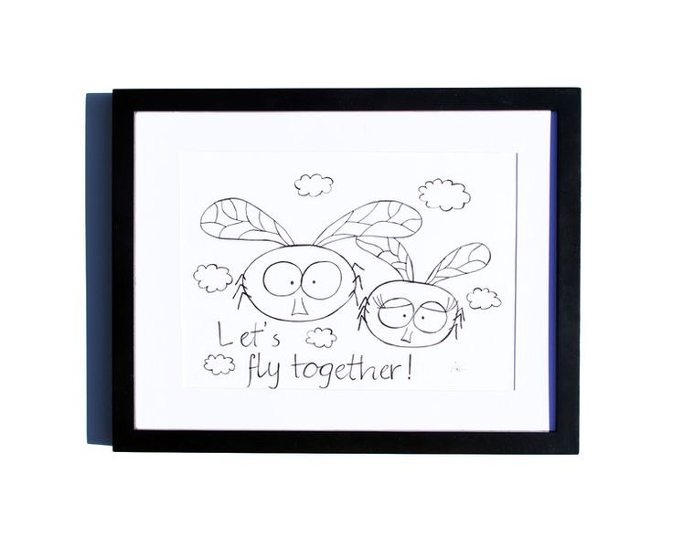 Fineliner – Drawing handmade 20x30cm: Flies – a unique product by ARTandCAT on DaWanda