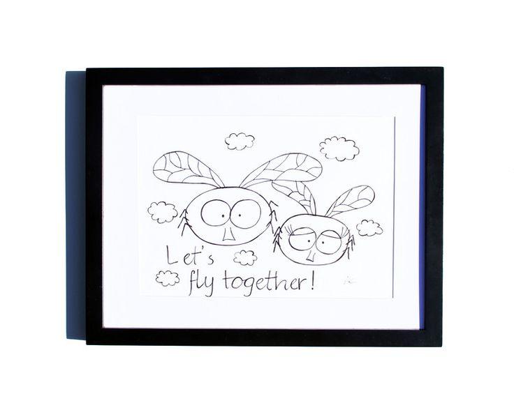 Fineliner – Drawing handmade 20x30cm: Flies – a unique product by ARTandCAT on DaWanda