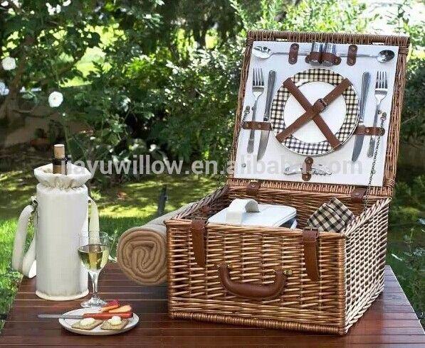 Handmade Mini portátil de vime 2 pessoa piquenique conjunto de vime cesta de…