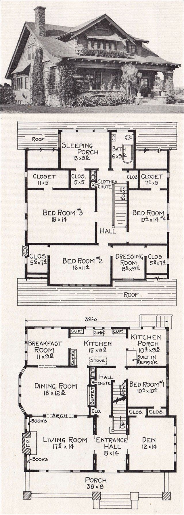 Vintage bungalow house plan architectural illustrations for One story bungalow style house plans