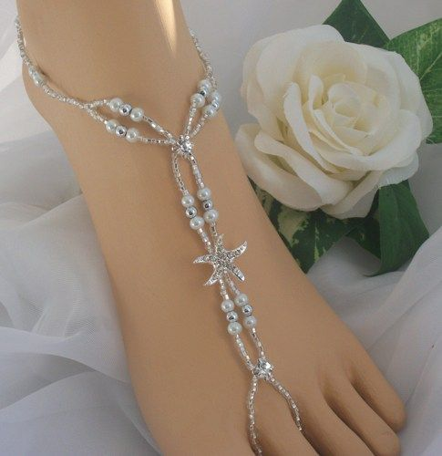 how to make barefoot sandals | how to make foot jewelry for beach wedding | Starfish ... | Jewelry...