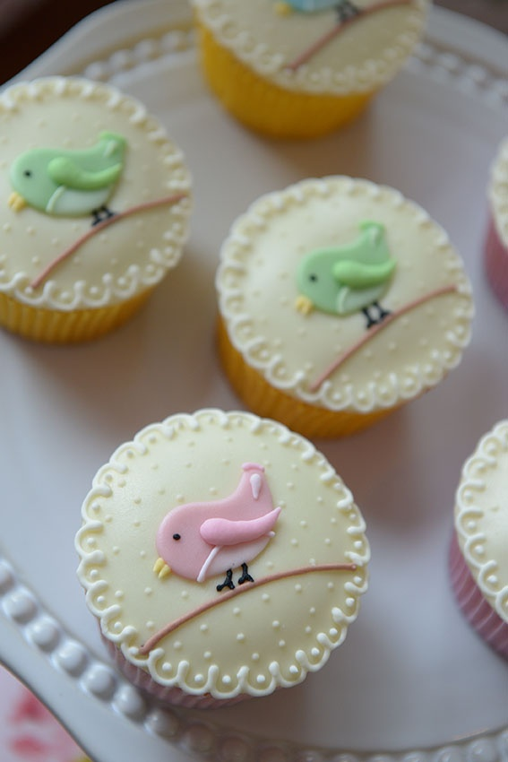 super cute bird on a wire vintage style cup cakes