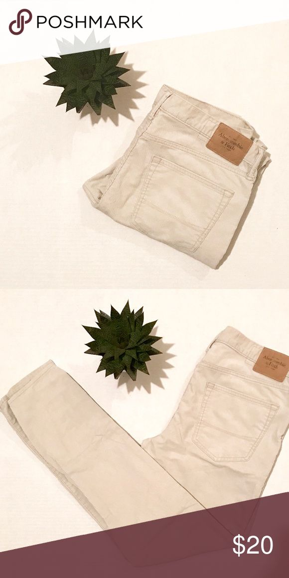 A&F// men's cords Abercrombie & Fitch. Size US Men's 36/32 && gently worn/washed. {Straight leg in light cream} Bundle to save! Abercrombie & Fitch Pants Corduroy