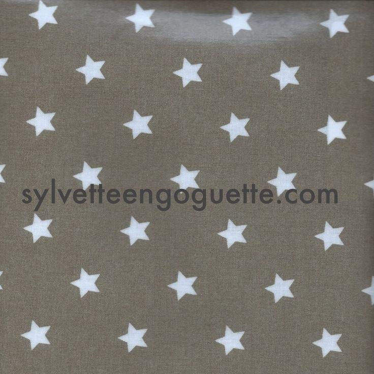 Toile cirée au mètre-toile cirée étoile taupe : Tissus Ameublement par sylvette-mercerie