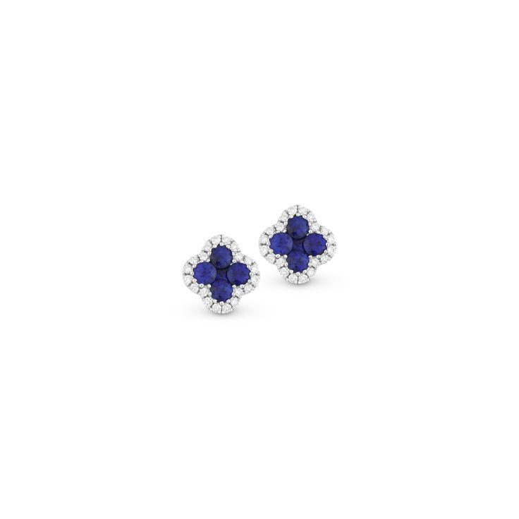 Blue Sapphire and Diamond Clover Stud Earring