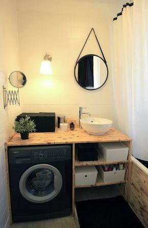Meuble de salle de bain en bois / astuces / gain de place / miroir cabine / pin / machine à laver / vasque / petit prix / bricolage / applique Ikea - MMCC Architecture
