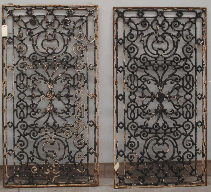 Pair Antique French Wrought Iron Panels For Wall Art And