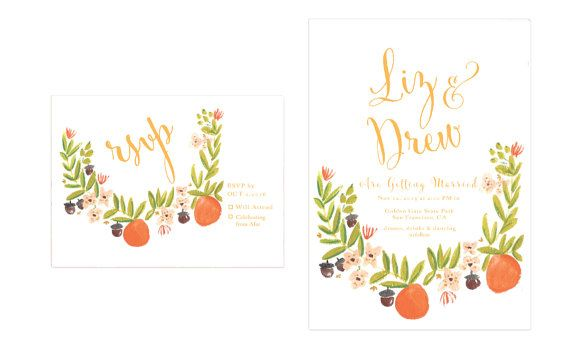 Autumn Orange Blossom Wedding Invitations // Fall Wedding Invitations // Fall Weddings