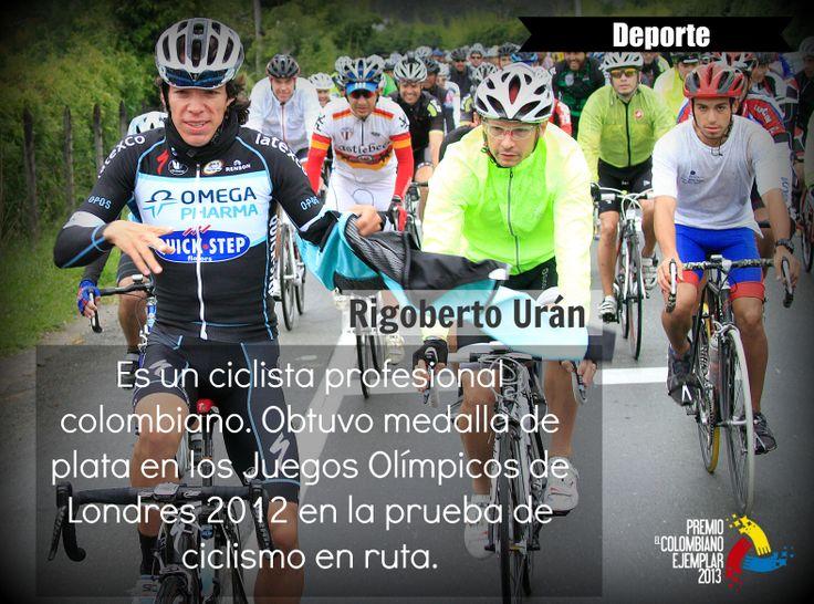 Persona: Riboberto Urán Es un ciclista profesional colombiano, actualmente en el equipo británico Sky Procycling de categoría ProTour. Reside en Pamplona (Navarra, España). Obtuvo medalla de plata en los Juegos Olímpicos de Londres 2012 en la prueba de ciclismo en ruta.