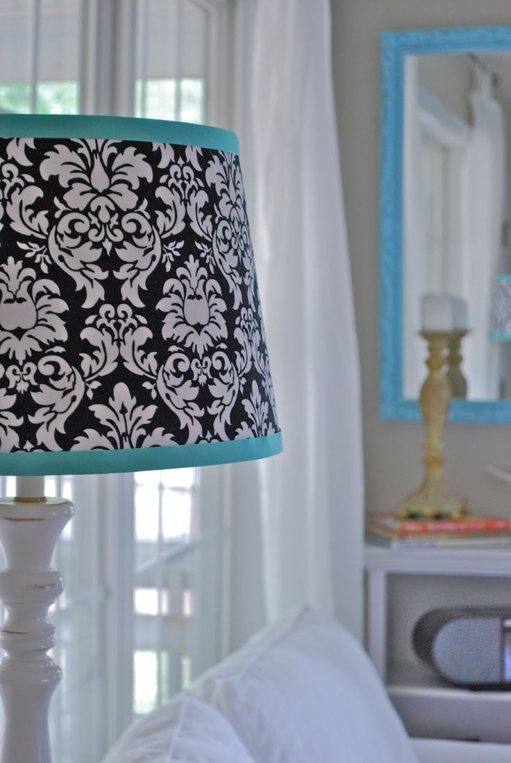 Black and white and teal bedroom - Teal Lamp Shade Lamp Shades Teal Rooms White Lamps White Bedroom Extra Bedroom Master Bedrooms Beautiful Bedrooms Teal Blue