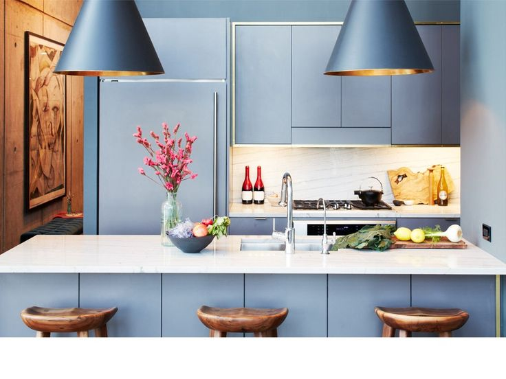 Paint Serena and Lily pendants same color as kitchen cabs - so cool. By Athena Calderone.