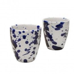 Bekers Splash modern Delfts Blauw aardewerk. Set van 2 bekers voor € 29,95