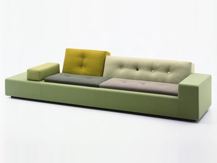 Vitra Polder Sofa by Hella Jongerius. Polder Sofa contains a mix of fabrics, colours, industrial elements and craft details. The name and the design refer to the typical Dutch 'polder' landscape: the artificial land reclaimed from the sea by means of long horizontal dykes and intersecting drainage canals. Polder Sofa was Jongerius' firstindustrially designed piece of furniture and marked the start of an intense collaboration with Vitra.