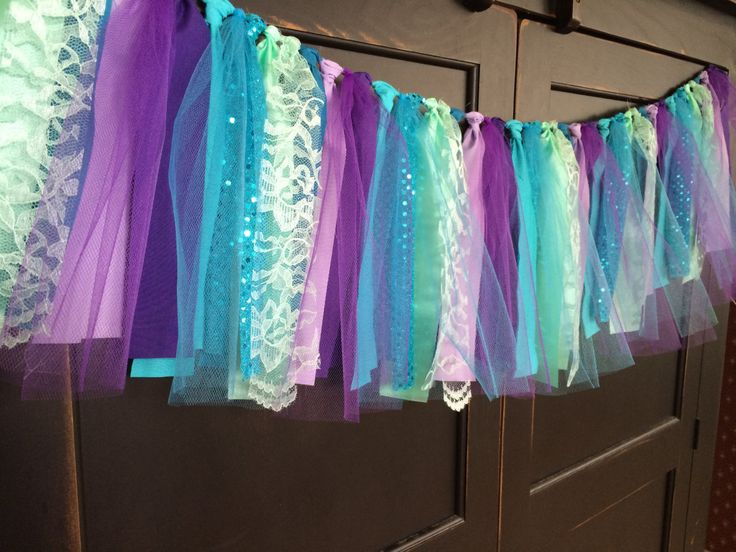 Mermaid Rag Tie Fringe Garland, Bunting, Banner, Swag, Backdrop, Streamer, Photo Prop by TheFrozenApple on Etsy