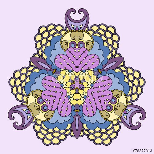 Вектор: Yellow-lilac mandala.